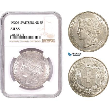 AE186, Switzerland, 5 Francs 1900-B, Bern, Silver, NGC AU55, Rare!