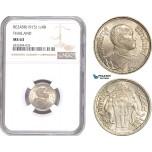 AE188, Thailand, Rama VI, 1/4 Baht BE2458 (1915) Silver, NGC MS63