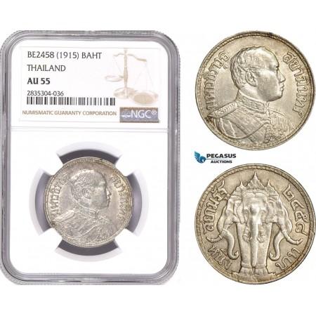 AE189, Thailand, Rama VI, 1 Baht BE2458 (1915) Silver, NGC AU55