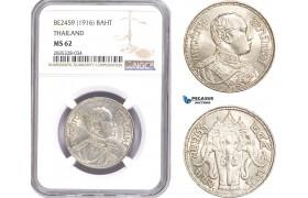 AE190, Thailand, Rama VI, 1 Baht BE2459 (1916) Silver, NGC MS62