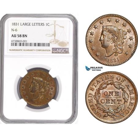 AE191, United States, Coronet Head Cent 1831, Philadelphia, N-6, NGC AU58BN