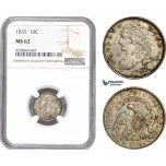 AE197, United States, Capped Bust Dime (10C) 1835, Philadelphia, Silver, NGC MS62