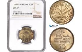 AE221, Palestine, 50 Mils 1935, London, Silver, NGC MS63