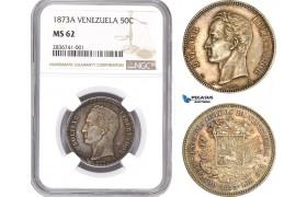 AE234, Venezuela, 50 Centavos 1873-A, Paris, Silver, NGC MS62, Very Rare!