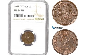 AE303, Estonia, 2 Senti 1934, NGC MS64BN