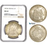 AE312, France, Third Republic, 5 Francs 1874-A, Paris, Silver, NGC MS64