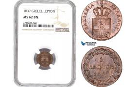 AE315, Greece, Othon, 1 Lepton 1837, Athens, NGC MS62BN, Rare!