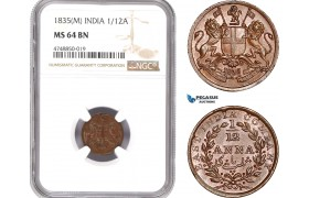 AE319, India (British) 1/12 Anna 1835 (M) Madras, NGC MS64BN
