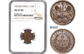 AE321, India (British) 1/12 Anna 1835 (M) Madras, NGC MS65BN