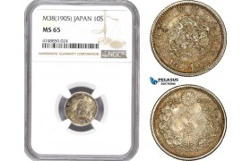 AE325, Japan, Meiji, 10 Sen Yr. 38 (1905) Silver, NGC MS65