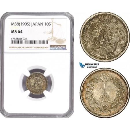 AE326, Japan, Meiji, 10 Sen Yr. 38 (1905) Silver, NGC MS64