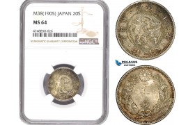 AE327, Japan, Meiji, 20 Sen Yr. 38 (1905) Silver, NGC MS64