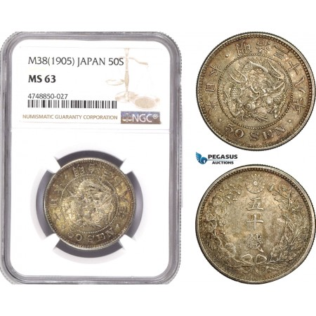 AE328, Japan, Meiji, 50 Sen Yr. 38 (1905) Silver, NGC MS63