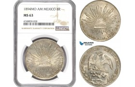 AE329, Mexico, 8 Reales 1894 Mo AM, Mexico City, Silver, NGC MS63