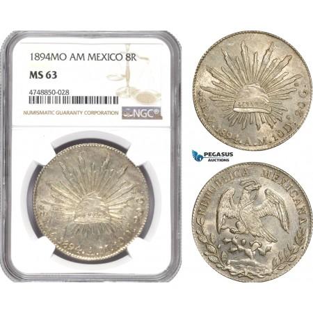 AE329, Mexico, 8 Reales 1894 Mo AM, Mexico City, Silver, NGC MS63