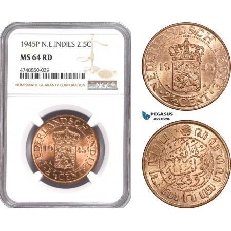 AE330, Netherlands East Indies, 2 1/2 Cents 1945-P, NGC MS64RD
