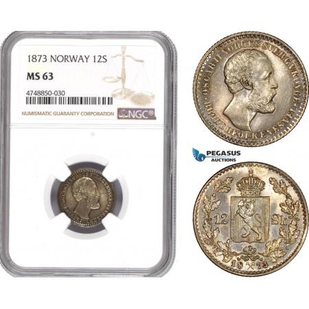AE331, Norway, Oscar II, 12 Skilling 1873, Kongsberg, Silver, NGC MS63