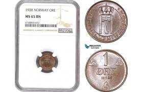 AE333, Norway, Haakon VII, 1 Øre 1938, Kongsberg, NGC MS65BN, Pop 1/1