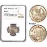 AE334, Romania, Carol I, 10 Bani 1900, Brussels, NGC MS64