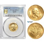 AE337, Russia, Alexander III, 5 Roubles 1890, St. Petersburg, Gold, PCGS MS63