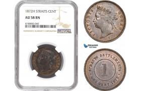 AE338, Straits Settlements, Victoria, 1 Cent 1872-H, Hetaon, NGC AU58BN