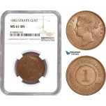 AE339, Straits Settlements, Victoria, 1 Cent 1883, NGC MS61, Rare!