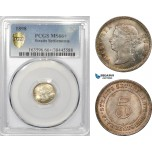 AE342, Straits Settlements, Victoria, 5 Cents 1898, Silver, PCGS MS66+, Pop 1/0