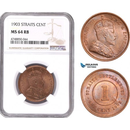 AE343, Straits Settlements, Edward VII, 1 Cent 1903, NGC MS64RB