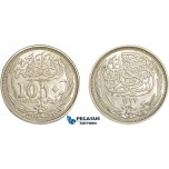 AE352, Egypt (Occupation Coinage) 10 Piastres AH1335 (1917) Silver, Cleaned AU
