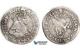 AE358, Germany, Kaufbeuren, Charles V, 1/4 Taler 1546, Silver (6.94g) Cleaned F-VF, Rare!
