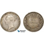 AE359, Great Britain, Victoria, Sixpence 1858, Silver, Toned XF