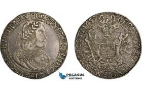 AE367, Hungary, Ferdinand III, Taler 1659 KB, Kremnitz, Silver (28.66g) Toned XF