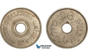AE371, Palestine, 20 Mils 1940, London, XF-AU, Spots