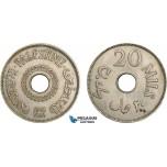 AE372, Palestine, 20 Mils 1941, London, XF, Spots, Rare!