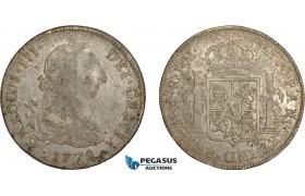 "AE374, Peru, Charles III, 8 Reales 1772 LIMA JM, Silver ""Portrait Type"" F"