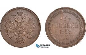 AE381, Russia, Alexander II, 3 Kopeks 1859-EM, Ekaterinburg, XF-AU