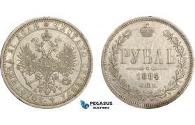 AE382, Russia, Alexander III, Rouble 1884 СПБ-АГ, St. Petersburg, Silver, Cleaned Rev. AU-UNC