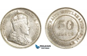 AE385, Straits Settlements, Edward VII, 50 Cents 1908, Silver, Lustrous XF-AU