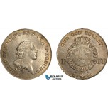 AE386, Sweden, Gustav IV Adolf, Riksdaler 1796, Stockholm, Silver (29.32g) SM 25, Toned XF-AU, Adjustments