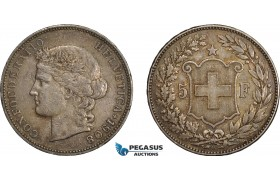 AE388, Switzerland, 5 Francs 1908-B, Bern, Silver, Toned VF-XF