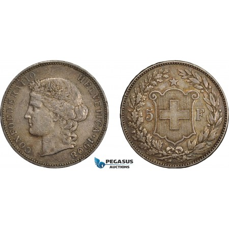 AE388, Switzerland, 5 Francs 1908-B, Bern, Silver, Toned VF-XF