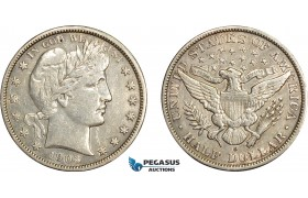 AE392, United States, Barber Half Dollar (50c) 1903-O, New Orleans, Silver, Cleaned XF