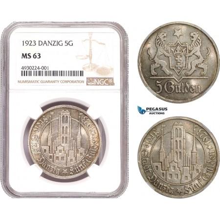 AE393, Poland, Danzig, 5 Gulden 1923, Silver, NGC MS63