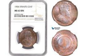 AE396, Straits Settlements, Edward VII, 1 Cent 1906, NGC MS63BN (Undergraded) Very Rare!