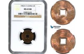 AE416, French Indo-China, 2 Sapeque 1902-A, Paris, NGC MS65RB