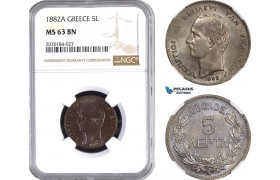 AE417, Greece, George I, 5 Lepta 1882-A, Paris, NGC MS63BN
