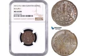 AE421, Netherlands East Indies, Sumatra, Keping AH1219 / 1804, SS-6, Pr-1, NGC MS64BN