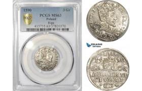 AE422, Latvia, Sigismund III. of Poland, 3 Groschen (Trojak) 1590, Riga, Silver, PCGS MS63