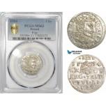AE423, Latvia, Sigismund III. of Poland, 3 Groschen (Trojak) 1594, Riga, Silver, PCGS MS63