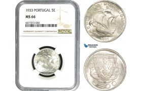 AE424, Portugal, 5 Escudos 1933, Silver, NGC MS66, Pop 2/0